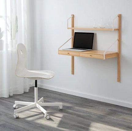 """Any space can be a workspace with this wall-mounted desk.<a href=""""https://fave.co/2YSAoMc"""" target=""""_blank"""" rel=""""noopener noreferrer"""">Find it for $101 at IKEA.</a>"""