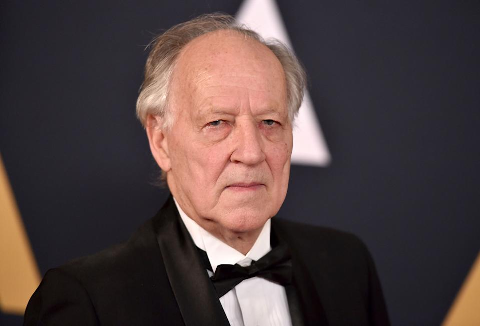 """FILE - In this Nov. 12, 2016 file photo, Werner Herzog arrives at the 2016 Governors Awards in Los Angeles. Herzog is calling """"The Mandalorian"""" a phenomenal achievement"""" after joining the cast of the streaming series set in the """"Star Wars"""" universe. The series, starring Pedro Pascal, Gina Carano and Carl Weathers, is set to premiere in November 2019. with the launch of the new Disney Plus streaming service. (Photo by Jordan Strauss/Invision/AP, File)"""
