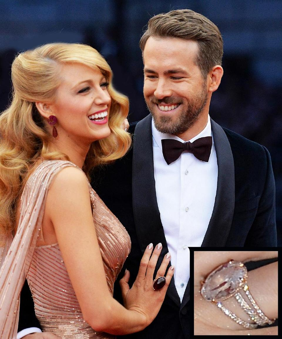 <p>Ryan Reynolds proposed to his future wife, Blake Lively, with a dazzling 10 to 12-carat diamond solitaire ring by Lorraine Schwartz. The couple married in September 2012 in South Carolina.</p>