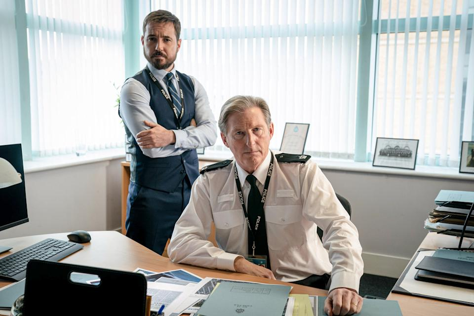 WARNING: Embargoed for publication until 00:00:01 on 23/03/2021 - Programme Name: Line of Duty S6 - TX: n/a - Episode: Line Of Duty - Generics (No. n/a) - Picture Shows:  DS Steve Arnott (MARTIN COMPSTON), Superintendent Ted Hastings (ADRIAN DUNBAR) - (C) World Productions - Photographer: Steffan Hill