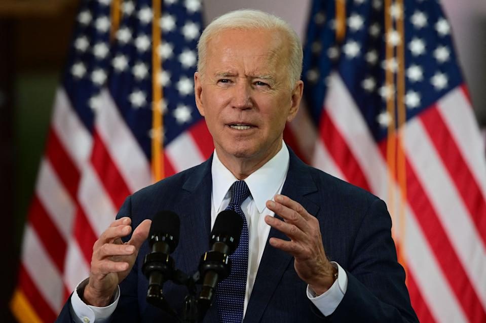 US President Joe Biden speaks in Pittsburgh, Pennsylvania, on March 31, 2021. - President Biden will unveil in Pittsburgh a USD 2 trillion infrastructure plan aimed at modernizing the United States' crumbling transport network, creating millions of jobs and enabling the country to