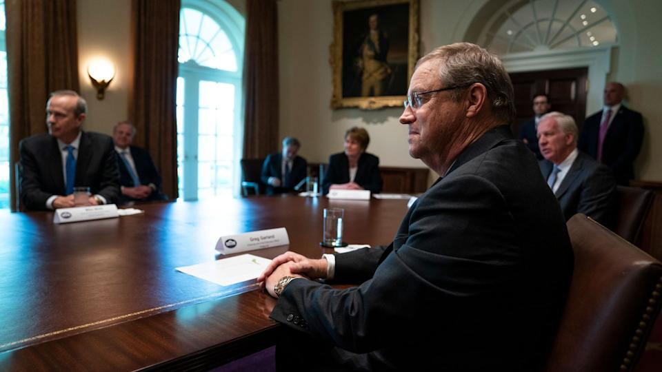 Mandatory Credit: Photo by Evan Vucci/AP/Shutterstock (10601969s)Phillips 66 CEO Greg Garland listens as President Donald Trump speaks during a meeting with energy sector business leaders in the Cabinet Room of the White House, in WashingtonVirus Outbreak Trump, Washington, United States - 03 Apr 2020.