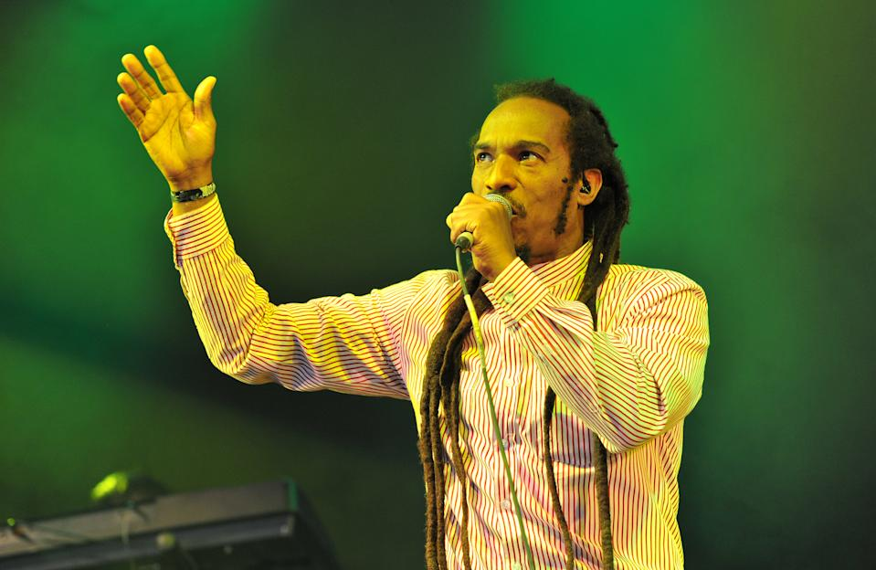 Benjamin Zephaniah and the Revolutionary Minds perform on stage during Day 4 of the Womad Festival at Charlton Park on July 30, 2017 in Wiltshire, England.  (Photo by C Brandon/Redferns)