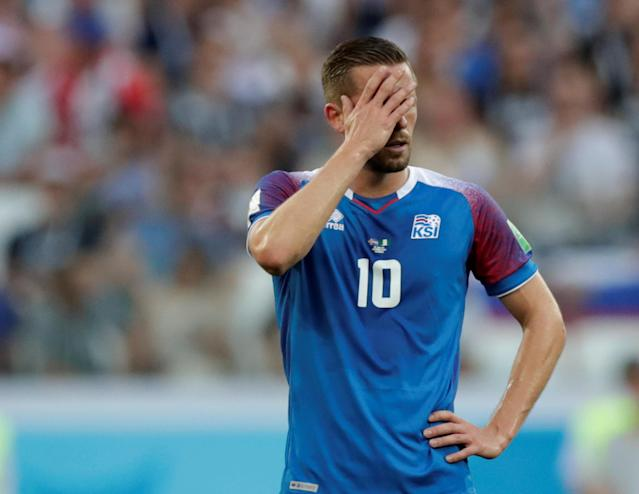 Soccer Football - World Cup - Group D - Nigeria vs Iceland - Volgograd Arena, Volgograd, Russia - June 22, 2018 Iceland's Gylfi Sigurdsson reacts REUTERS/Ueslei Marcelino TPX IMAGES OF THE DAY