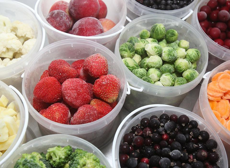 frozen fruits and vegetables in containers