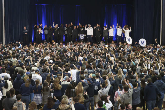 Villanova fans attend a celebration of the team's NCAA men's basketball tournament championship, at Jake Nevin Field House on the Villanova campus Tuesday, April 3, 2018, in Villanova, Pa. (Tim Tai/The Philadelphia Inquirer via AP)