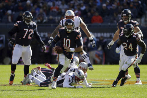 The good progress still outweighs the bad with Mitchell Trubisky through six 2018 games. (AP Photo/Nam Y. Huh)