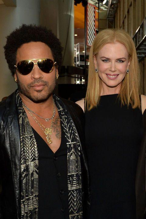 """<p>The musician and actress were <a href=""""http://people.com/celebrity/nicole-kidman-reveals-engagement-lenny-kravitz/"""" rel=""""nofollow noopener"""" target=""""_blank"""" data-ylk=""""slk:once engaged in 2003"""" class=""""link rapid-noclick-resp"""">once engaged in 2003</a> but called things off. """"It just wasn't right,"""" Kidman told <em><a href=""""http://www.vanityfair.com/hollywood/2007/10/kidman-200710"""" rel=""""nofollow noopener"""" target=""""_blank"""" data-ylk=""""slk:Vanity Fair"""" class=""""link rapid-noclick-resp"""">Vanity Fair</a> </em>in 2007. """"I wasn't ready. We weren't ready.<span class=""""redactor-invisible-space"""">""""</span> She would later go on to co-star with Kravitz's daughter Zoe in <em>Big Little Lies</em><span class=""""redactor-invisible-space"""">. </span></p>"""