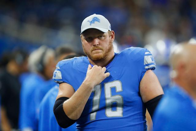 The Detroit Lions released veteran guard T.J. Lang on Friday. (AP)