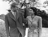 <p>Taken during their honeymoon at Broadlands, Hampshire in November, 1947. This photo was later recreated for their Diamond wedding anniversary.</p>