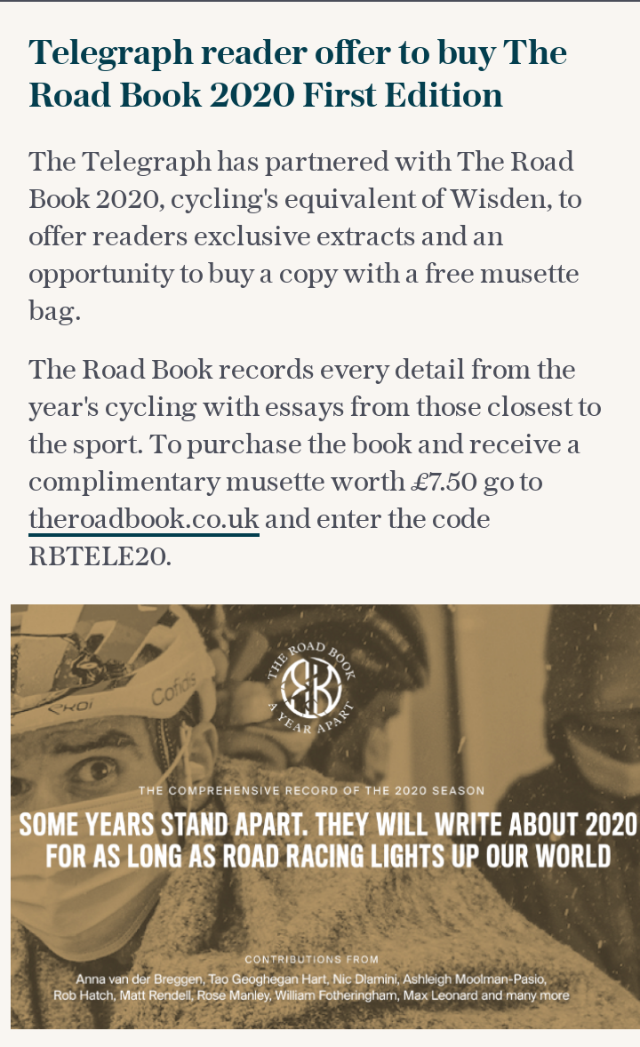 Telegraph reader offer to buy The Road Book 2020 First Edition