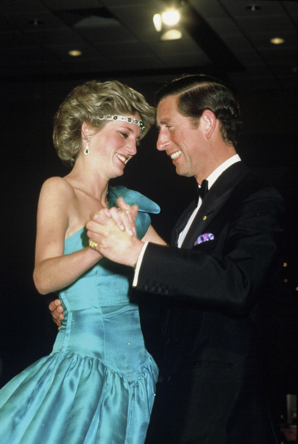 Happier times: The Royal couple dancing in Melbourne, Australia, in 1985. (Getty)