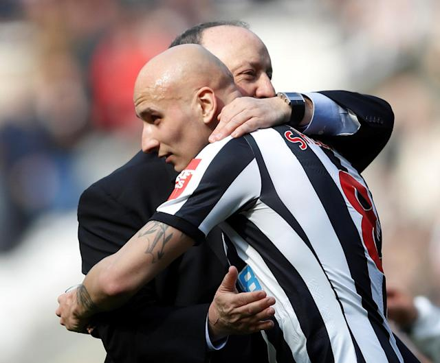 """Soccer Football - Premier League - Newcastle United vs Arsenal - St James' Park, Newcastle, Britain - April 15, 2018 Newcastle United manager Rafael Benitez and Jonjo Shelvey celebrate after the match Action Images via Reuters/Carl Recine EDITORIAL USE ONLY. No use with unauthorized audio, video, data, fixture lists, club/league logos or """"live"""" services. Online in-match use limited to 75 images, no video emulation. No use in betting, games or single club/league/player publications. Please contact your account representative for further details."""