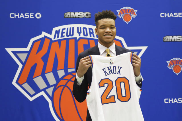 Kevin Knox gave Knicks fans reason to rethink their draft night boos with an impressive Summer League debut on Saturday. (AP)