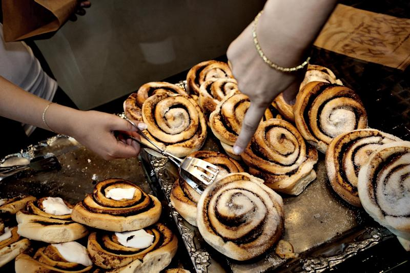 FILE – In this Aug. 4, 2010 file photo, cinnamon rolls are sold at a bakery in Copenhagen, Denmark. The Danish Veterinary and Food Administration recently found that Danish bakers use more cinnamon in their pastry than the recommended limits set by the EU. (AP Photo/POLFOTO, Per Folkver, file) DENMARK OUT