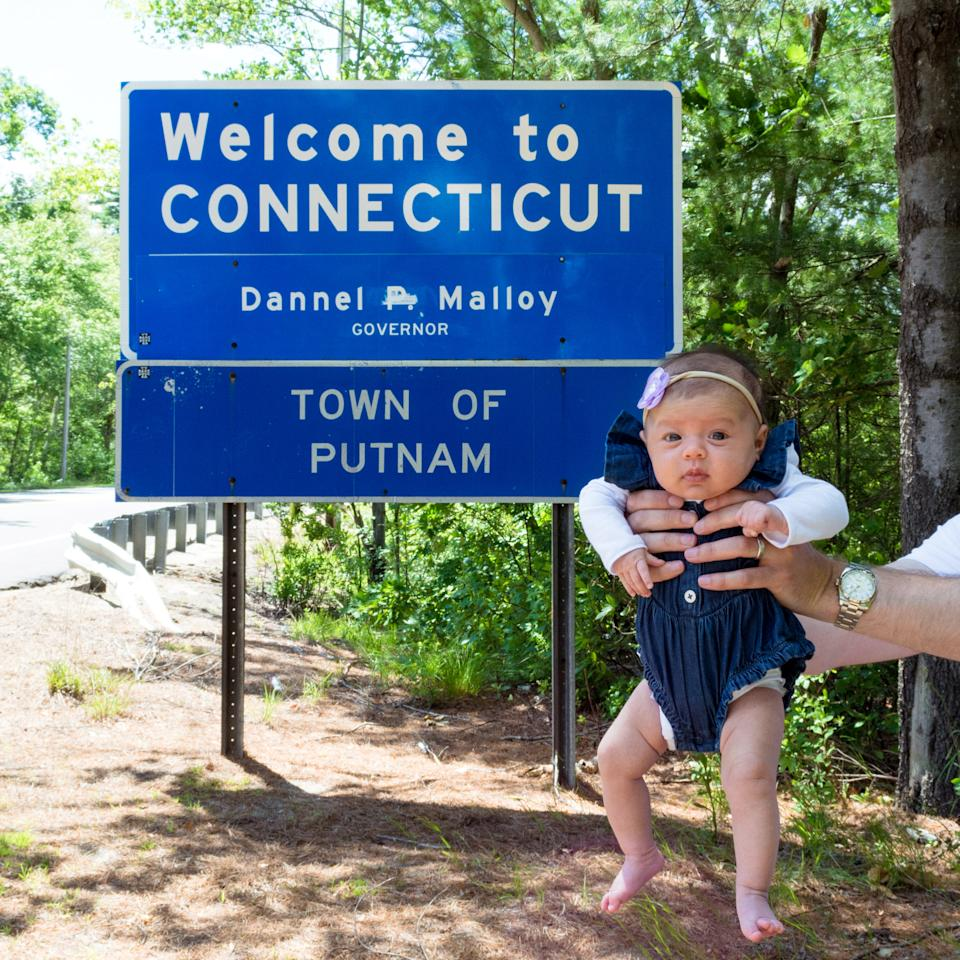 <p>A 10-week-old girl is set to become the youngest person to visit all 50 US states thanks to her travel mad Aussie parents. Source: Mega </p>