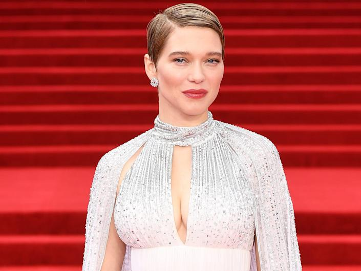 """Lea Seydoux attends the World Premiere of """"No Time to Die"""" at the Royal Albert Hall on September 28, 2021 in London, England."""