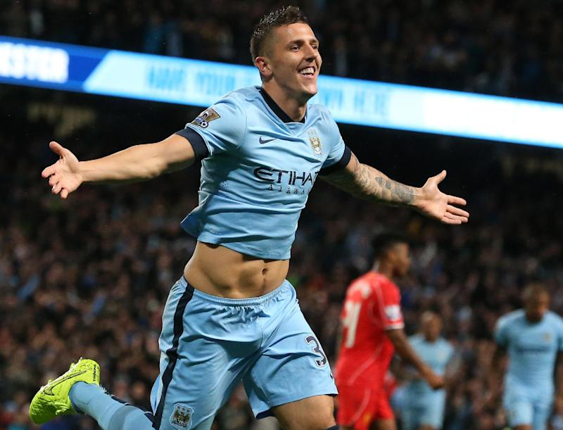 Manchester City striker Stevan Jovetic celebrates during the English Premier League football match against Liverpool, August 25, 2014