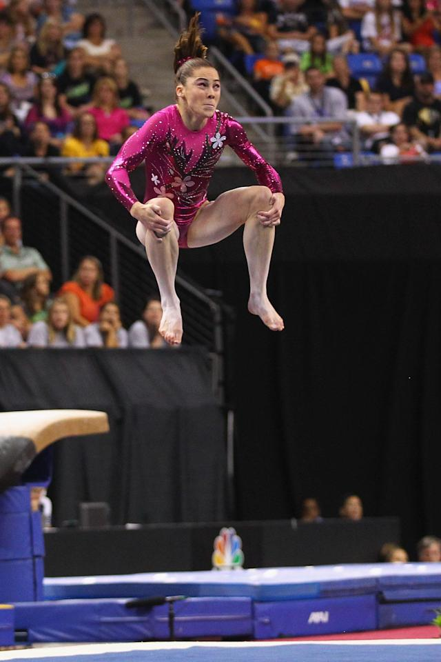 ST. LOUIS, MO - JUNE 8: McKayla Maroney competes in the floor event during the Senior Women's competition on day two of the Visa Championships at Chaifetz Arena on June 8, 2012 in St. Louis, Missouri. (Photo by Dilip Vishwanat/Getty Images)