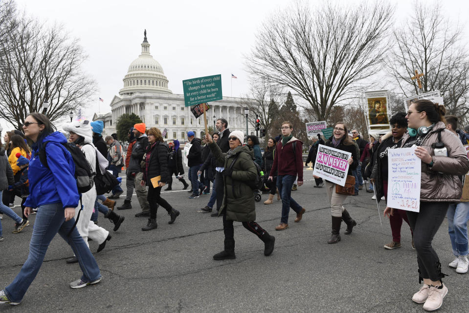 """FILE - In this Jan. 24, 2020, file photo, anti-abortion activists participate in the """"March for Life"""" rally near Capitol Hill in Washington. Anti-abortion leaders across America were elated a year ago when Donald Trump became the first sitting U.S. president to appear in person at their highest-profile annual event, the March for Life held every January. The mood is more sober now — a mix of disappointment over Trump's defeat and hope that his legacy of judicial appointments will lead to future court victories limiting abortion rights. (AP Photo/Susan Walsh, File)"""