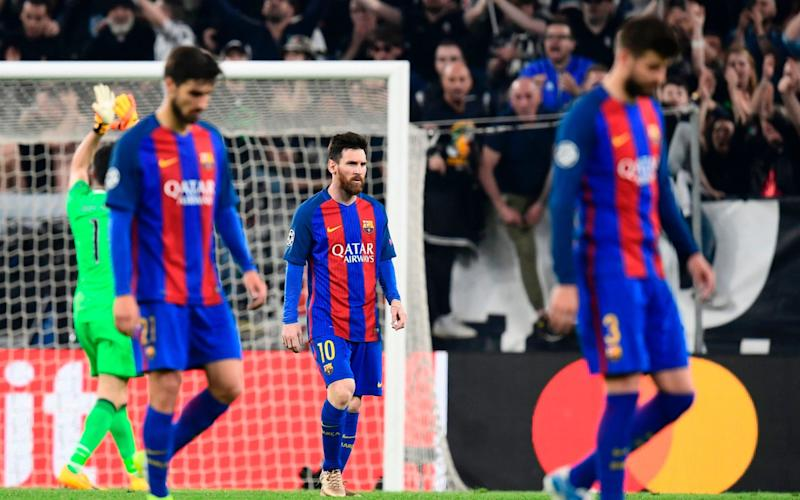 Barcelona players leave the field after Tuesday's humiliation against Juventus - AFP