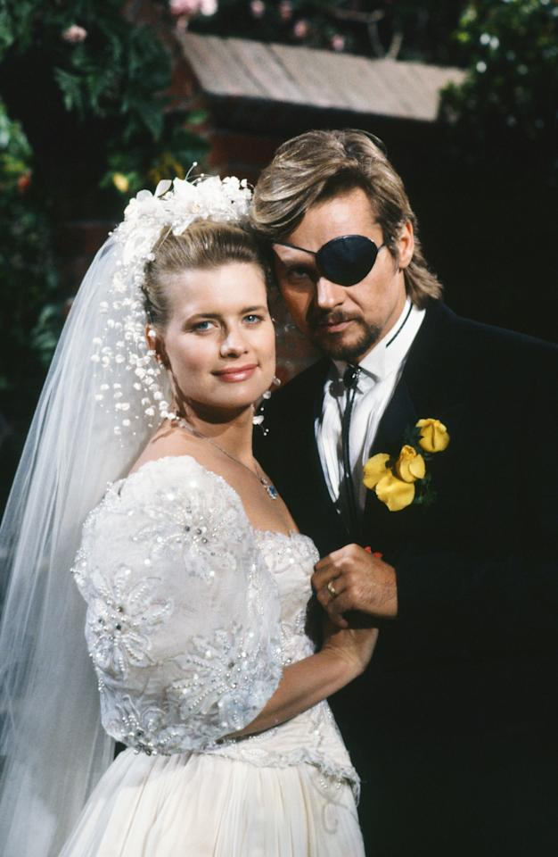 "DAYS OF OUR LIVES -- ""Patch Johnson & Kayla Brady Johnson 2nd Wedding"" -- Pictured: (l-r) Mary Beth Evans as Dr. Kayla Brady Johnson, Stephen Nichols as Steve ""Patch"" Johnson  (Photo by Alice S. Hall/NBC/NBCU Photo Bank via Getty Images)"