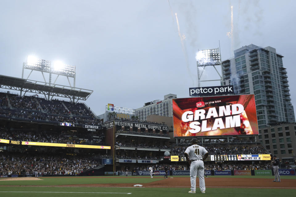 San Diego Padres' Manny Machado runs the bases after hitting a grand slam against the Atlanta Braves in the fifth inning of a baseball game Saturday, Sept. 25, 2021, in San Diego. (AP Photo/Derrick Tuskan)