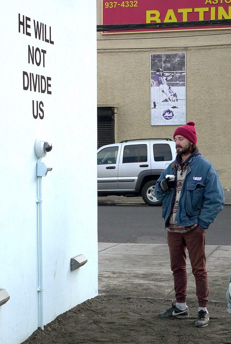 Shia LaBeouf is continuing to protest Donald Trump with his art project. (Photo: Splash News)