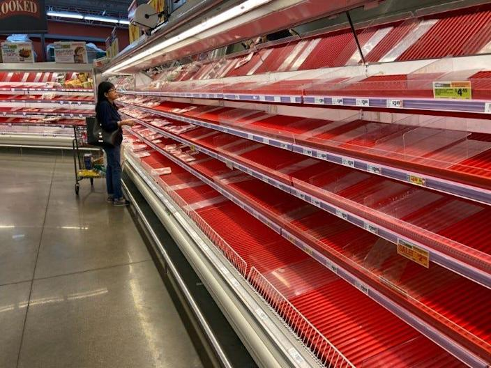 Panic buying means there is a lot less food on the shelves.