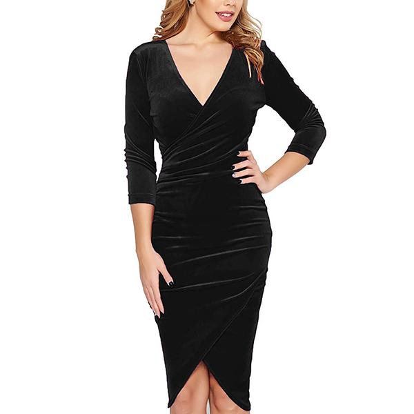 The sleek velvet dress cinches in at the waist for a flattering fit. (Photo: Amazon)