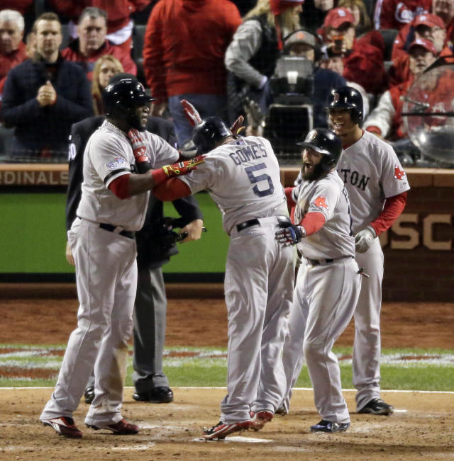 Gomes lifts Red Sox over Cards 4-2 to even Series