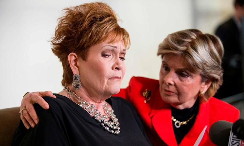 Beverly Young Nelson (left) with attorney Gloria Allred during a press conference: 'I thought he was going to rape me.'