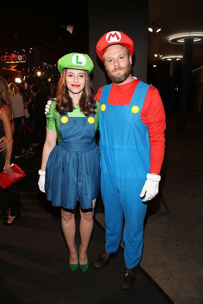 <p>Seth Rogan and his wife, Lauren Miller, kept things simple for their joint Halloween costume, dressing up as the iconic Nintendo characters.</p>