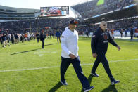 Chicago Bears head coach Matt Nagy, left, walks off the field after an NFL football game against the Los Angeles Chargers, Sunday, Oct. 27, 2019, in Chicago. The Chargers won 17-16. (AP Photo/Paul Beaty)