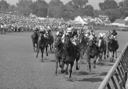 FILE - In this May 7, 1977, file photo, Seattle Slew, with Jean Cruguet up, crosses finish line to win the Kentucky Derby horse race at Churchill Downs in Louisville, Ky. Run Dusty Run, left of Seattle Slew, finished second, and Sanhedrin, just to right of Seattle Slew, finished third. Secretariat is the early 7-2 favorite for this weekend's virtual Kentucky Derby, an animated race pitting all 13 Triple Crown winners on the day the Derby would have been held before the coronavirus pandemic postponed it. Citation, who won the 1948 Triple Crown, was made the 4-1 second choice. Seattle Slew and Affirmed, the 1977 and '78 Triple Crown winners, were each listed at 5-1 odds. (AP Photo/File)