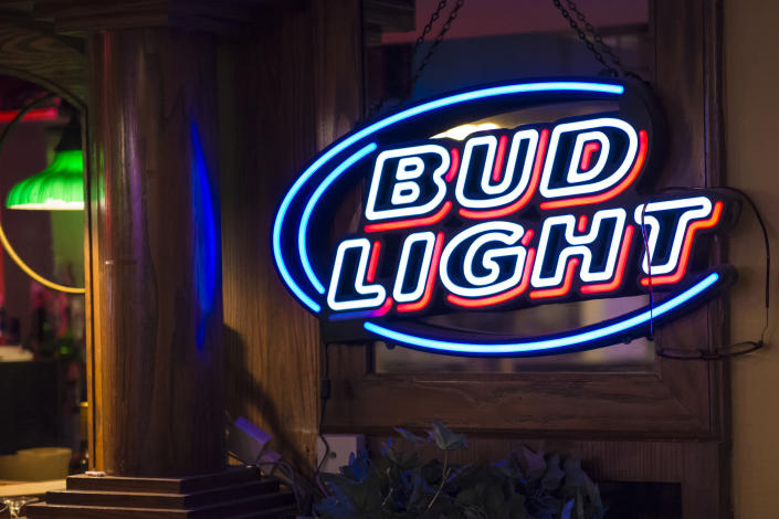 NEW YORK CITY, NEW YORK, UNITED STATES - 2015/10/17: Signage of Bud light outside a bar in New York City, United States.  Bud Light is Budweiser's flagship light beer with 4.2% ABV. The brand is owned by Anheuser-Busch which is the largest brewing company in the United States. (Photo by Roberto Machado Noa/LightRocket via Getty Images)