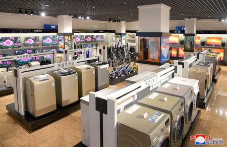 FILE PHOTO: Appliances and televisions displayed inside Daesong Department Store in North Korea, in this undated photo released on April 15, 2019 by North Korea's Korean Central News Agency (KCNA). KCNA via REUTERS/File Photo