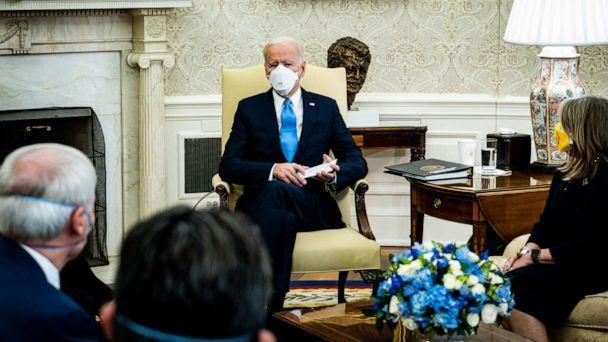 PHOTO: President Joe Biden meets with governors and mayors in the Oval Office of the White House in Washington on Feb. 12, 2021, to discuss the vital need to pass the American Rescue Plan. (Pool/Getty Images)