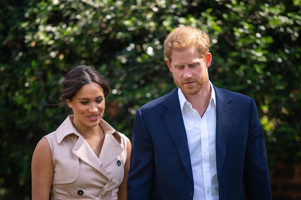 The Duke and Duchess of Sussex attend a creative industries and business reception at the British High Commissioner's residence in Johannesburg, South Africa, on day 10 of their tour of Africa. PA Photo. Picture date: Monday September 23, 2019. See PA story ROYAL Tour. Photo credit should read: Dominic Lipinski/PA Wire (Photo by Dominic Lipinski/PA Images via Getty Images)