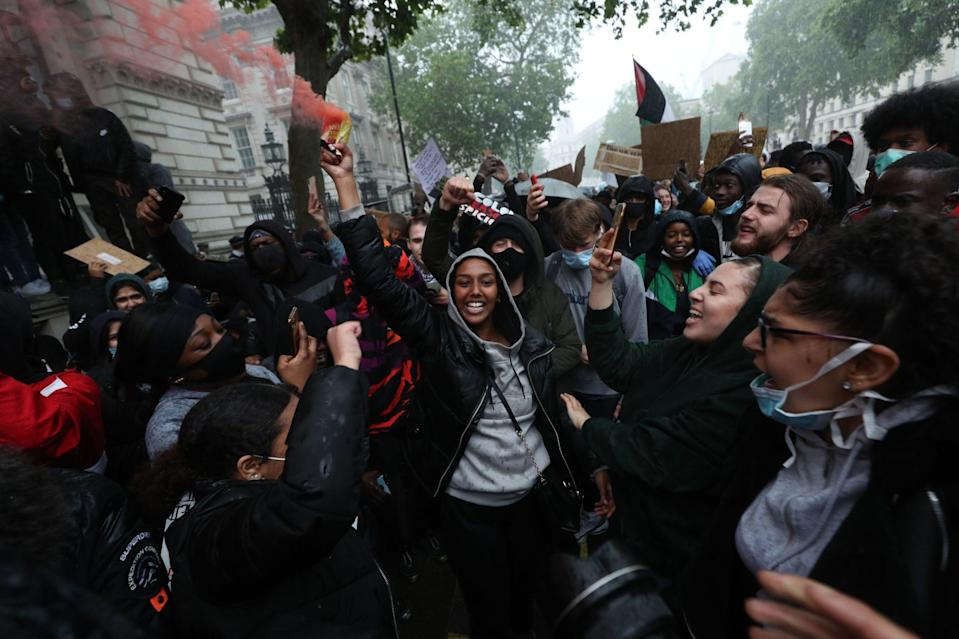 <p>Black Lives Matter protesters in Parliament Square</p> (PA)