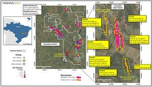 Ivolandia project, Ivolandia Main target 2020 drilling highlights, property wide gold grain stream sediment counts and select historic exploratory drilling. Drilling results reported as Au (g/t) over core lengths.