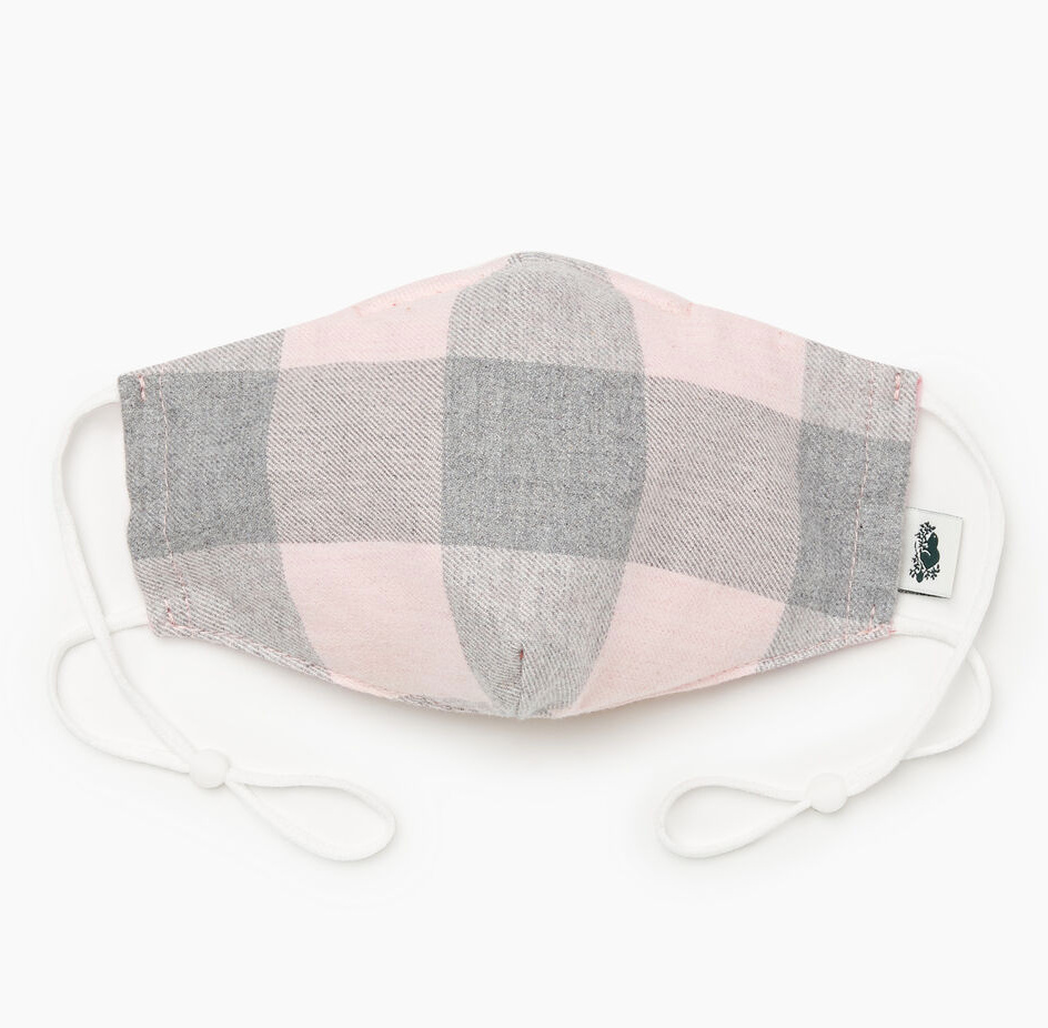 Park Plaid Reusable Face Mask in Silver Pink. Image via Roots.