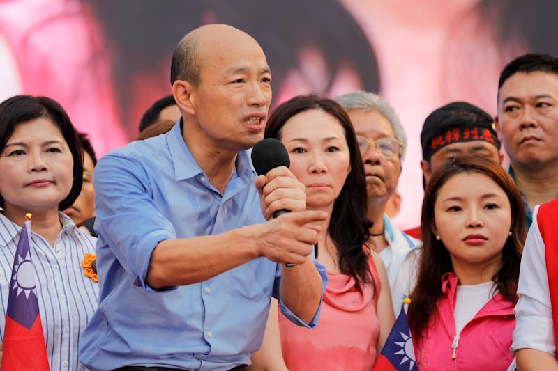 Kaohsiung city mayor Han Kuo-yu (C) from the Kuomintang party gestures while speaking to his supporters during a campaign event in Taipei on June 1, 2019. (Photo by Daniel Shih / AFP) (Photo credit should read DANIEL SHIH/AFP/Getty Images)