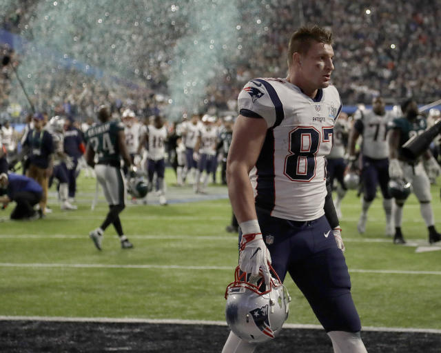 New England Patriots TE Rob Gronkowski walks off the field after Super Bowl LII. (AP)