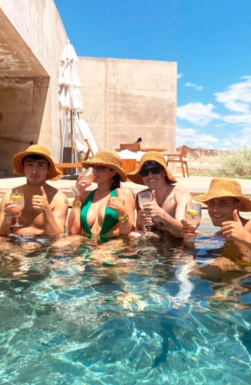 Kylie Jenner and her friends in Utah in the pool