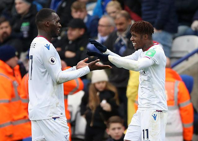 """<a class=""""link rapid-noclick-resp"""" href=""""/soccer/players/christian-benteke/"""" data-ylk=""""slk:Christian Benteke"""">Christian Benteke</a> and <a class=""""link rapid-noclick-resp"""" href=""""/soccer/players/wilfried-zaha/"""" data-ylk=""""slk:Wilfried Zaha"""">Wilfried Zaha</a> both scored in Crystal Palace's win at Leicester City on Saturday. (Getty)"""