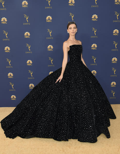 Angela Sarafyan arrives at the 70th Primetime Emmy Awards on Monday, Sept. 17, 2018, at the Microsoft Theater in Los Angeles. (Photo by Richard Shotwell/Invision/AP)