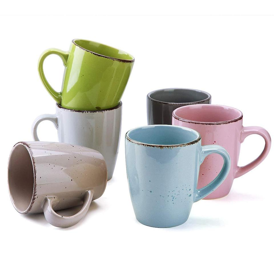 "<br><br><strong>FE FUN ELEMENTS</strong> Coffee Mugs Set of 6, 12oz, $, available at <a href=""https://amzn.to/3lS0ebW"" rel=""nofollow noopener"" target=""_blank"" data-ylk=""slk:Amazon"" class=""link rapid-noclick-resp"">Amazon</a>"