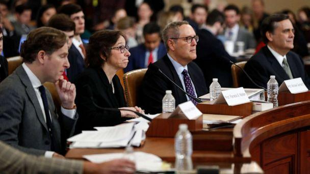PHOTO: Constitutional law experts Noah Feldman, Pamela Karlan, Michael Gerhardt and Jonathan Turley testify during a hearing before the House Judiciary Committee on Capitol Hill in Washington, Dec. 4, 2019. (Andrew Harnik/AP)
