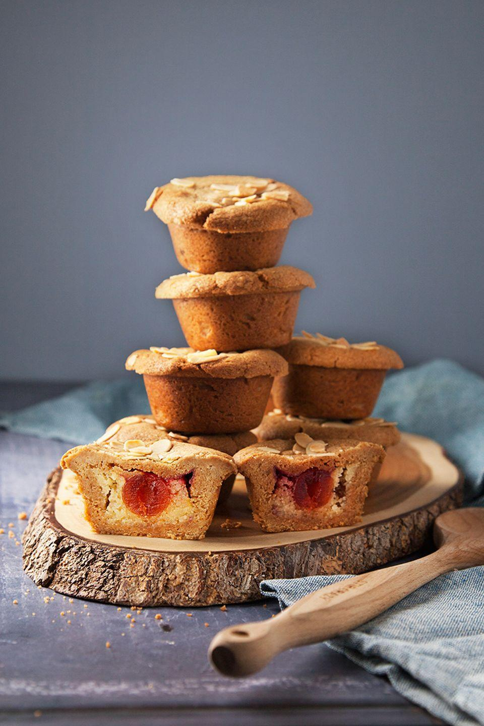 """<p>Oh how we love cherry bakewell tarts, and we've stuffed these cookie cups with the flavours for the perfect treat.</p><p><strong><br>Recipe: <a href=""""https://www.goodhousekeeping.com/uk/food/recipes/a26585882/cherry-bakewell-cookie-cups/"""" rel=""""nofollow noopener"""" target=""""_blank"""" data-ylk=""""slk:Cherry bakewell cookie cups"""" class=""""link rapid-noclick-resp"""">Cherry bakewell cookie cups</a></strong></p>"""